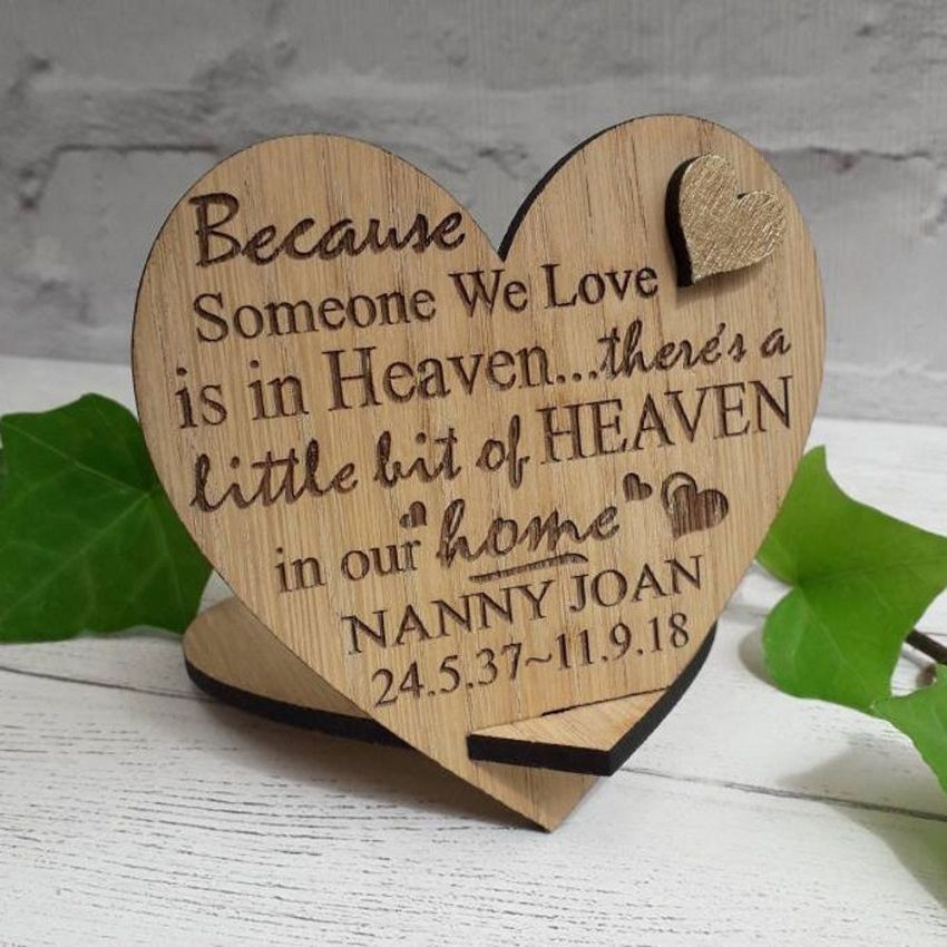 Personalised Heaven in Our Home Heart Remembrance Loss of a Loved One Memorial Sign Gift